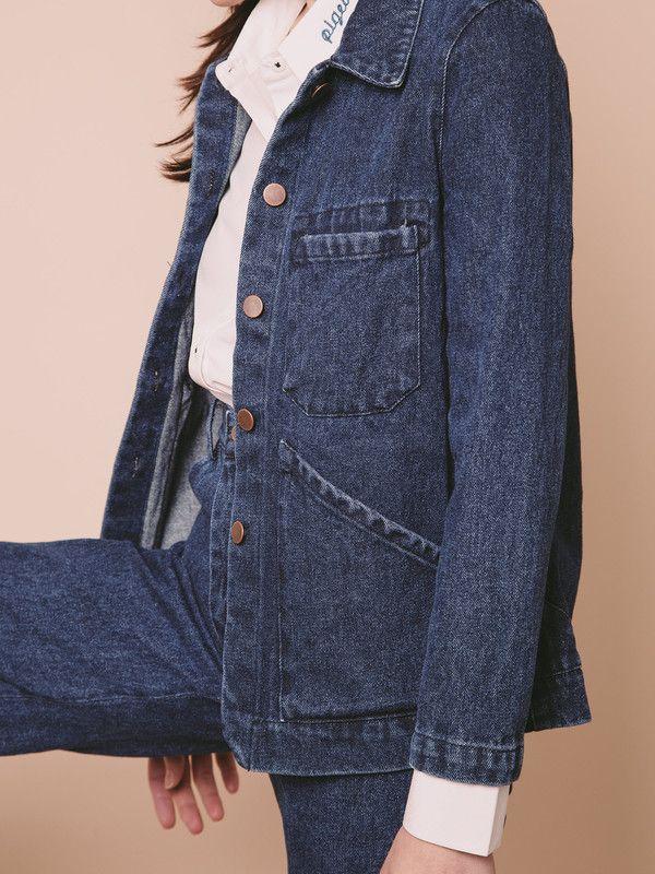 f60ca99f0 Carleen Triangle Pocket Jacket - Blue | Style | Jackets, Vest jacket ...