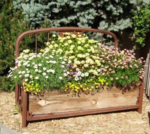 Old Bed Frame Yard Art Flower Beds Garden Crafts