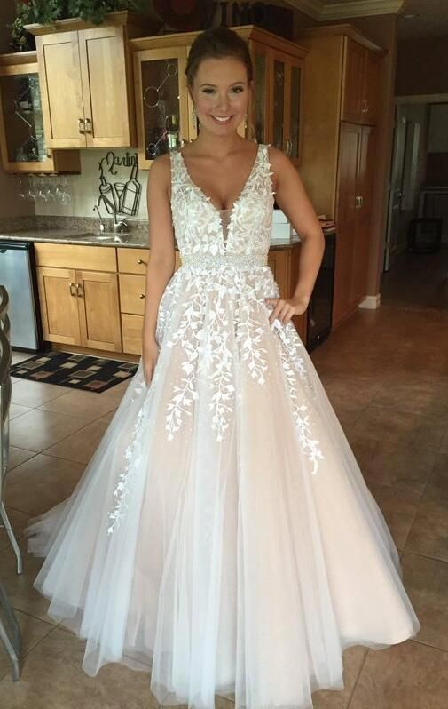 Floor Length Prom Dress,V Neck Prom Dress with Lace,Lace Pom Dress,Tulle Prom Dress,Long Evening Dress,Lace Wedding Dress #promthings