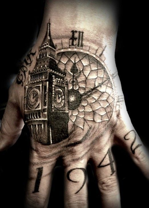 Awesome Big Ben Clock Tower Hand Tattoo Ink Inked Tattooed Tattoo