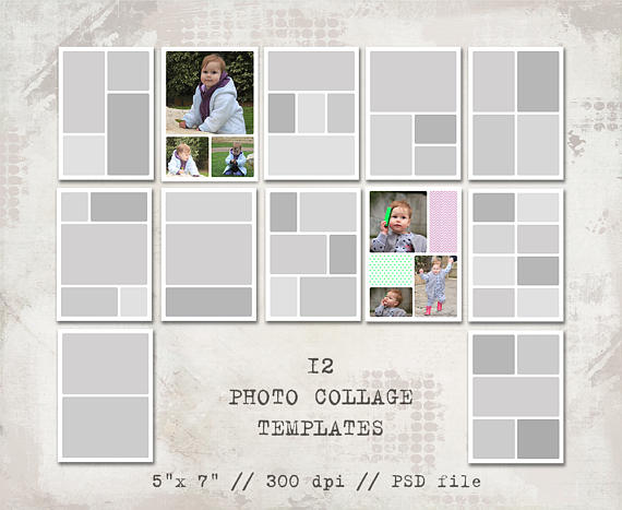 12 Storyboard Templates 5x7 Photo Collage Templates Layered Etsy Photo Collage Template Storyboard Template Collage Template