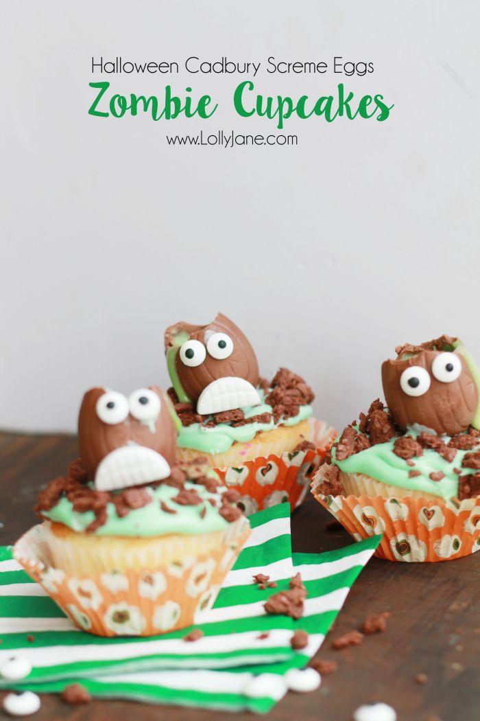 Halloween Cadbury Screme Eggs Zombie Cupcakes Zombie cupcakes