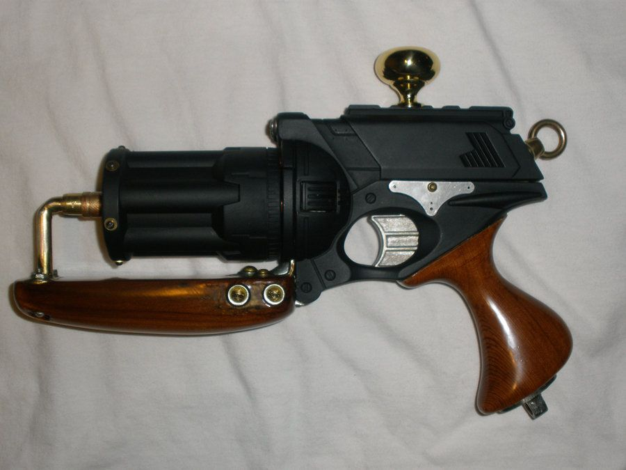 Steam Punk NERF Gun 'Tsarist Fury' Wood Grip by MarcWF Profile view of