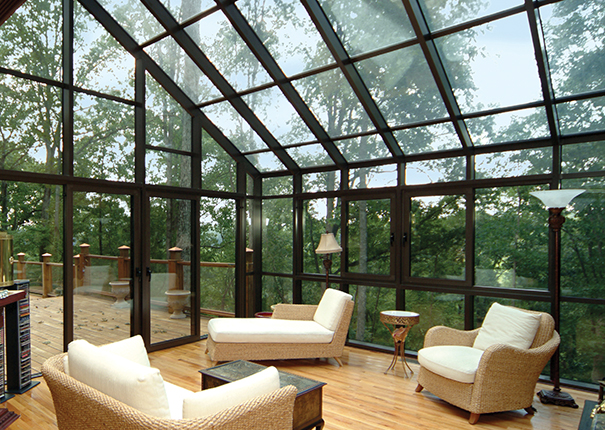 Glass Patio Enclosure Overhang From House Providing Full Roof Three Or Four With Images Patio Design Glass Porch Small Sunroom