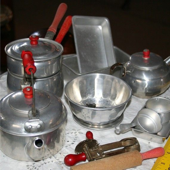 1950s Childs Aluminum Red Handle Cooking Kitchen Play Set ...