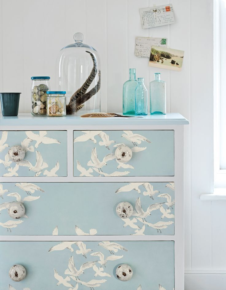 We like this idea by Sanderson using their Seagulls #wallpaper design.Would be nice for a bathroom cabinet.