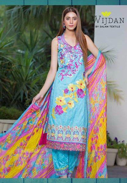 f808f31ad6 #Wijdan Noor Fatima Pakistani Summer Salwar Kameez #Eid Suit Vol1 1B #Blue