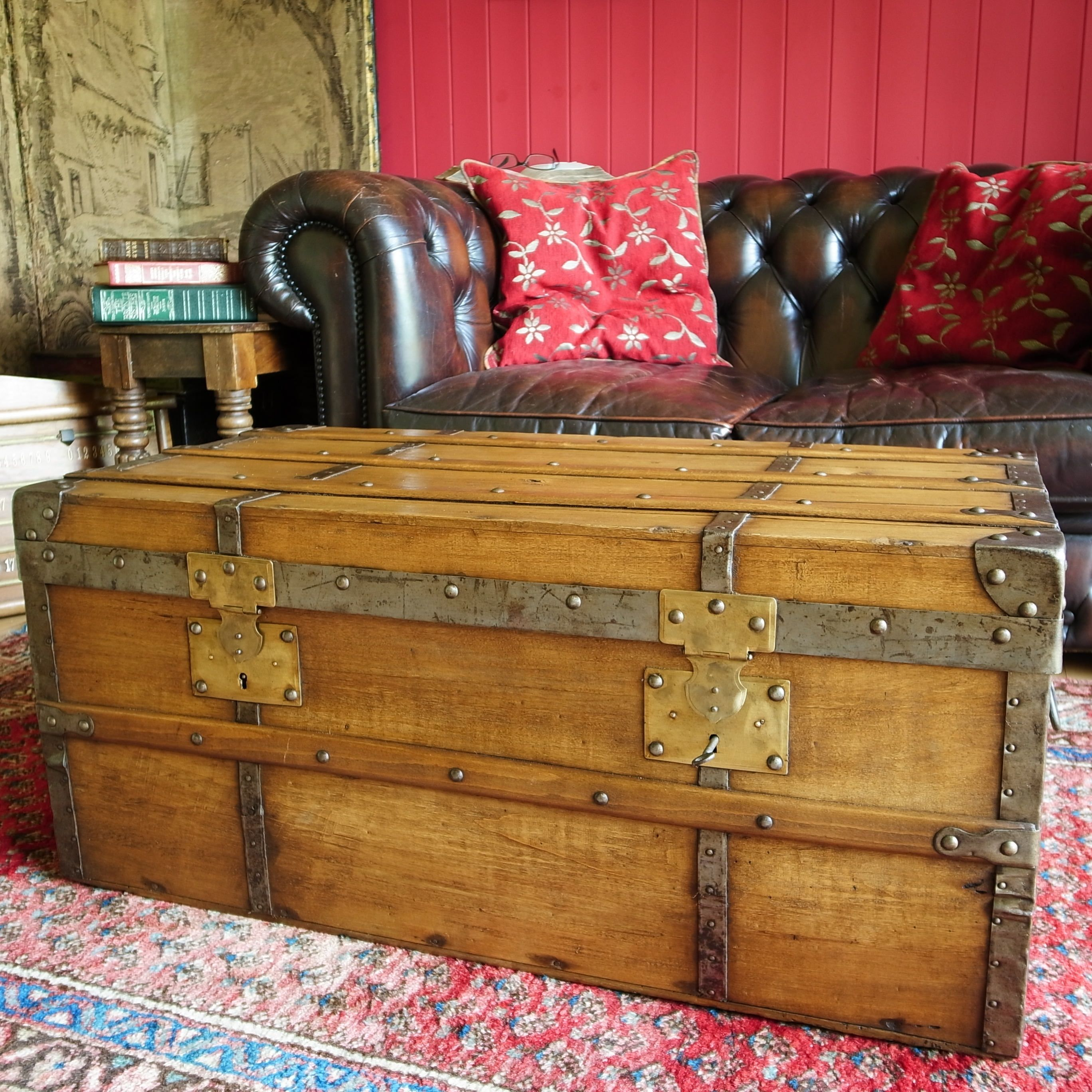 reclaimed antique trunk coffee table victorian steamer trunk