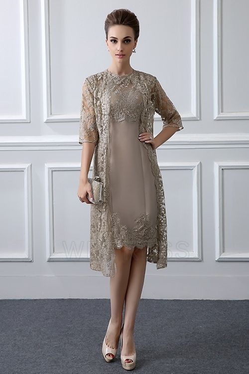 1a8c4e98a Sheath/Column Jewel Neck Knee-length Mother of the Bride Dress With Lace
