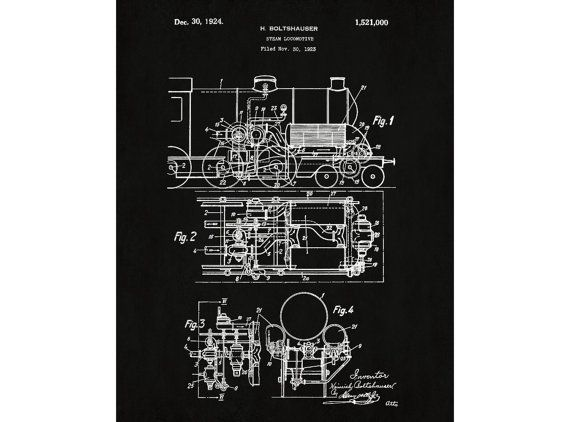 Steam locomotive patent poster art train design print steam steam locomotive patent poster art train design print steam locomotive blueprint vintage steam train one of malvernweather Image collections