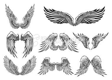 set of 8 wings graphic elements fl gel fl gel tattoo. Black Bedroom Furniture Sets. Home Design Ideas