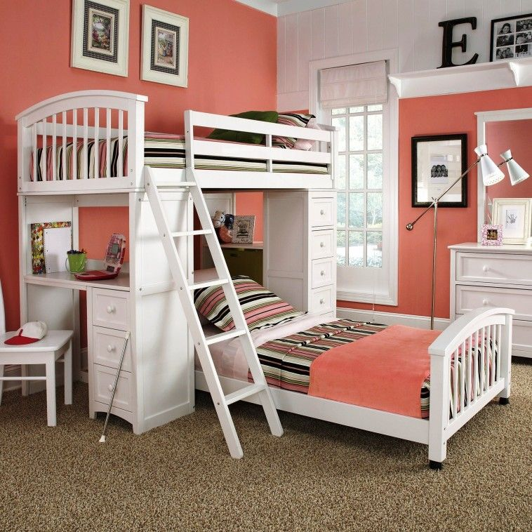 Tomato Girl Bedroom Loft Bed With Desk Teenage Stairs Storage On ...