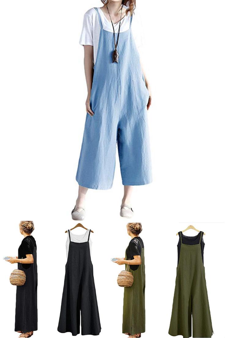 d6d13fb64a8 Women s Loose Linen Suspender Trousers Wide Leg Overalls Jumpsuit Romper  Harem Pants Plus Size