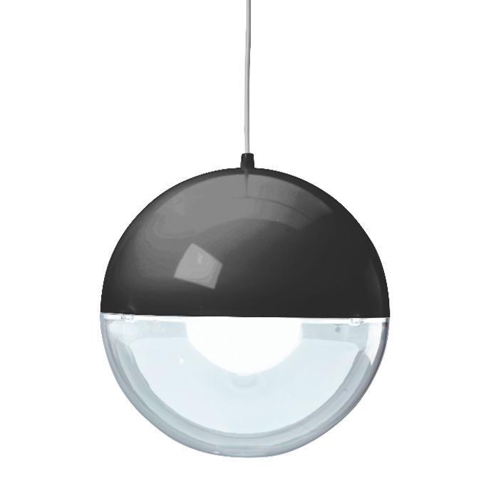 Suspension de la collection Orion, composée d'un cordon d'alimentation et d'un diffuseur sphérique en polistirol bicolore, cette suspension est présentée ici dans une finition associant le noir (d...