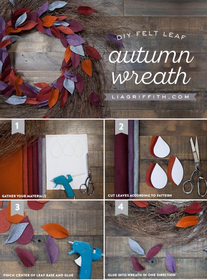 Felt Leaf Wreath for Fall - Lia Griffith #feltflowertemplate
