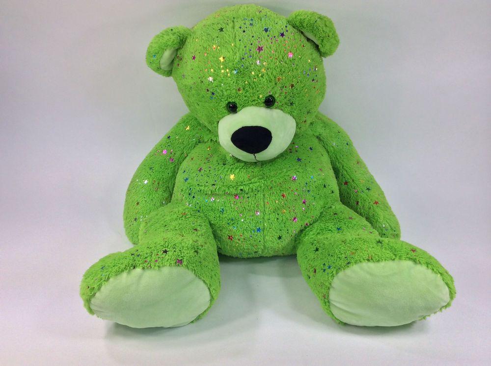 Unicorn Teddy Bear Toys R Us, Toys R Us Green Teddy Bear Sparkle Glimmer Stars Plush Stuffed Glitter 30 Jumbo