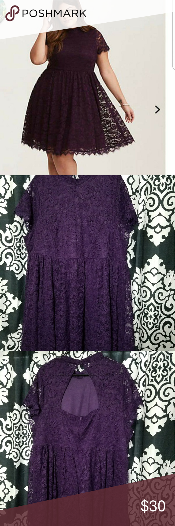 c63d0bee78f Deep Purple Lace High Neck Skater Dress This dress is an old-meets-new  fave. The bold lace creates a modest look with a high neck and a fit and  flare skirt.