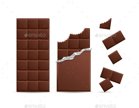 Realistic Chocolate Bar Bitten With Pieces Chocolate Bar Dark