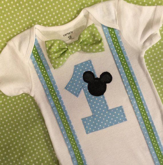 estilo distintivo realmente cómodo muchos de moda Bebé Mickey Mouse 1er cumpleaños traje camisa de por ...