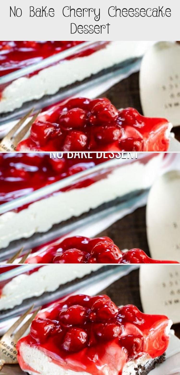 No Bake Cherry Cheesecake Dessert - Cake #nobakecheesecakefilling