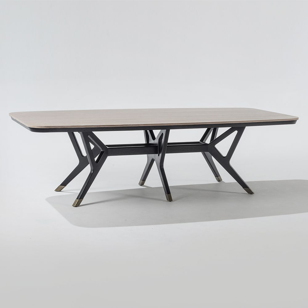Ten rectangular dining table 110A /110 (latte Wood Top) A ...