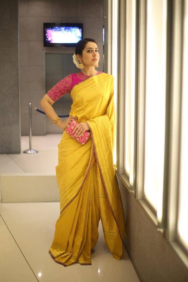 8f9530ebbbfe2a Rashi Khanna Smiling Stills In Yellow Saree At Director Krish  MarriageRashi… - blouses, for women, peplum, blue, elegant, satin blouse *ad