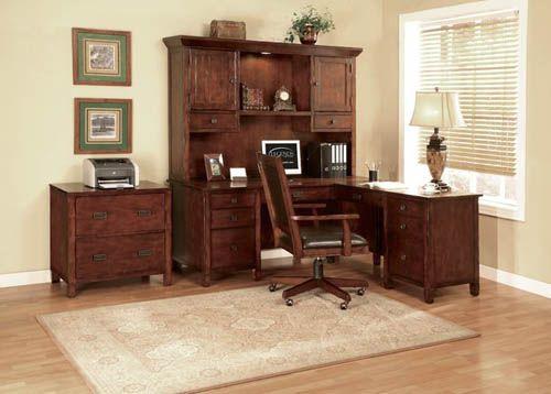 Aspenhome Warm Cherry Executive Modular Home Office: Alpine Lodge Rustic Auburn L-Shaped Executive Desk W