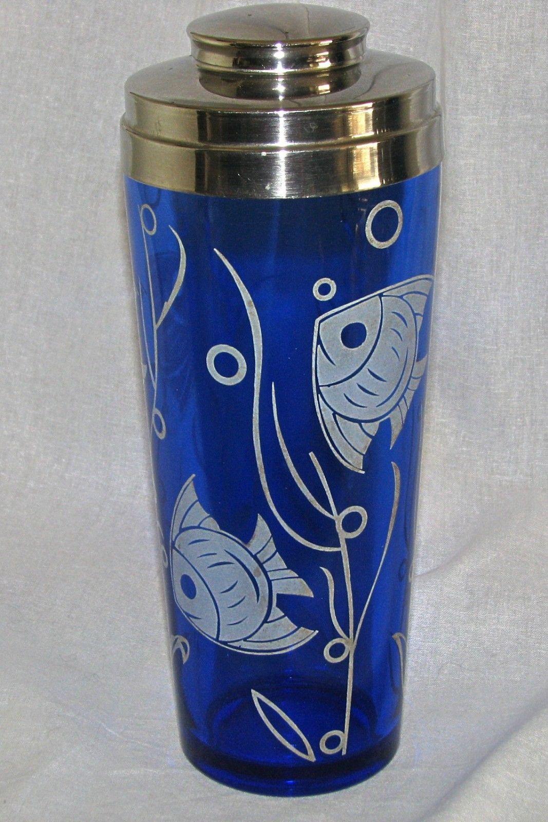 Hazel Atlas cobalt blue glass Angel Fish Sportsman Series cocktail ...