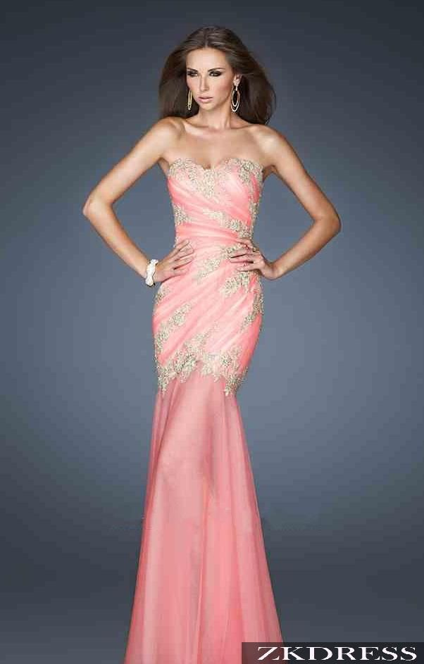Woman Wearing a Strapless Salmon Pink w. Swirl Beading One Way @ the ...