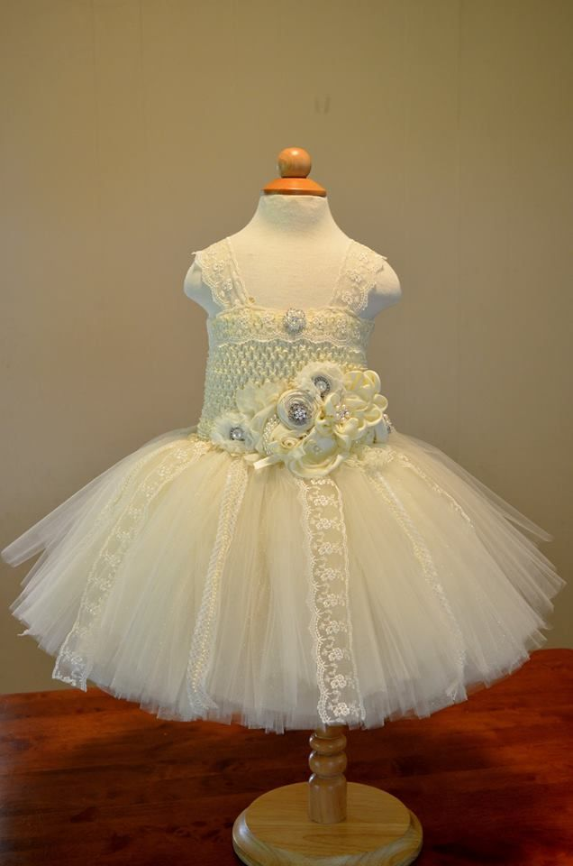 Ivory Flower Girl Tutu Dress - Front