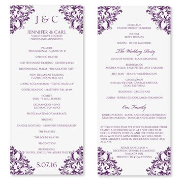 Wedding Program Template Instant Download Edit Yourself Nadine Plum T Wedding Program Template Free Ceremony Program Template Wedding Programs Template