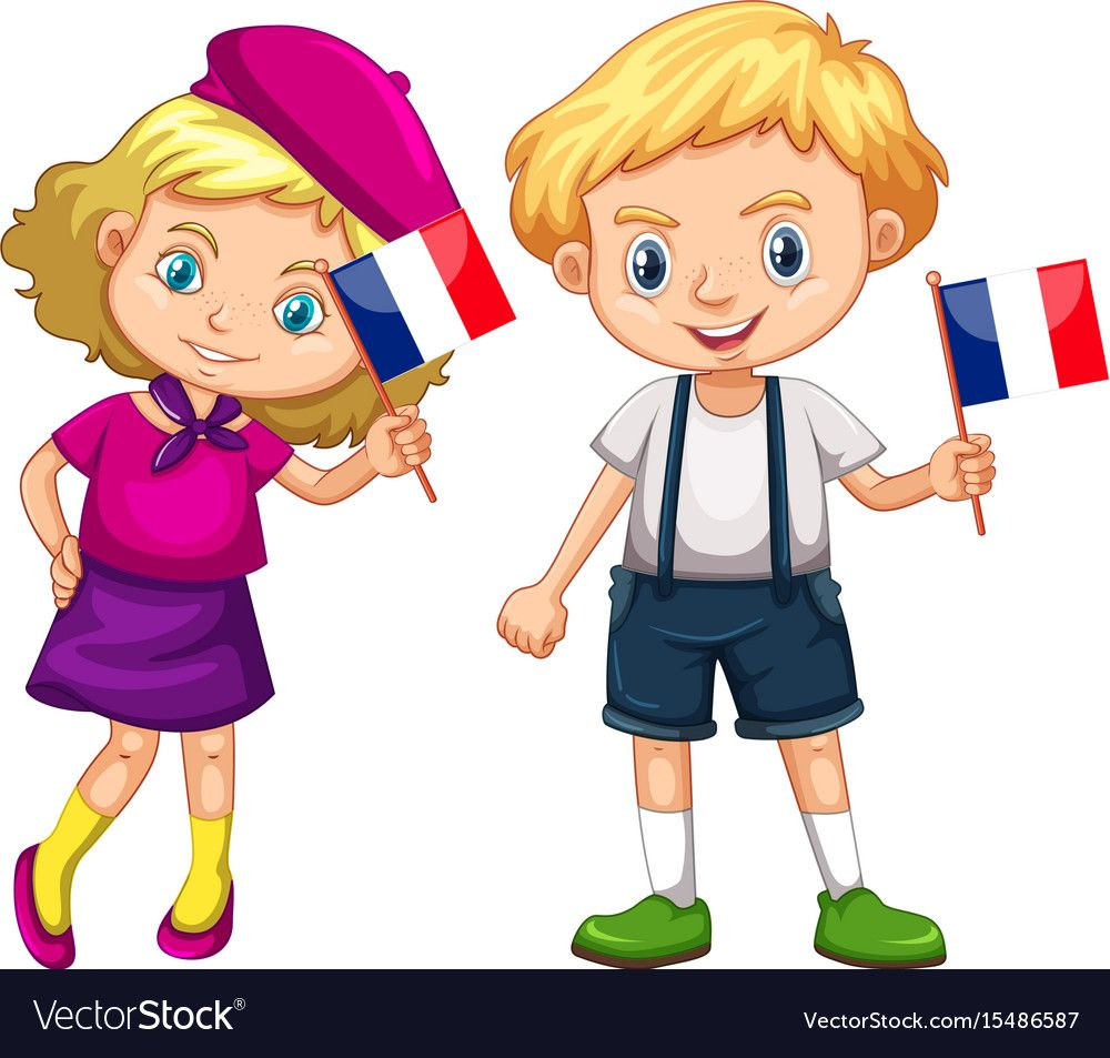 Boy and girl holding flag of france vector image on