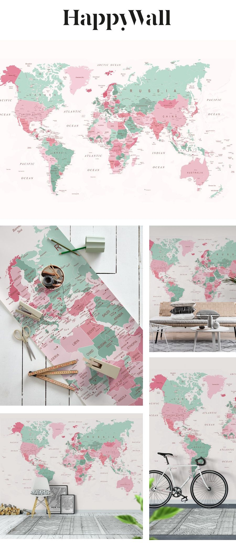 Map of World Pink + Mint Green Wall mural in 2020 Mint