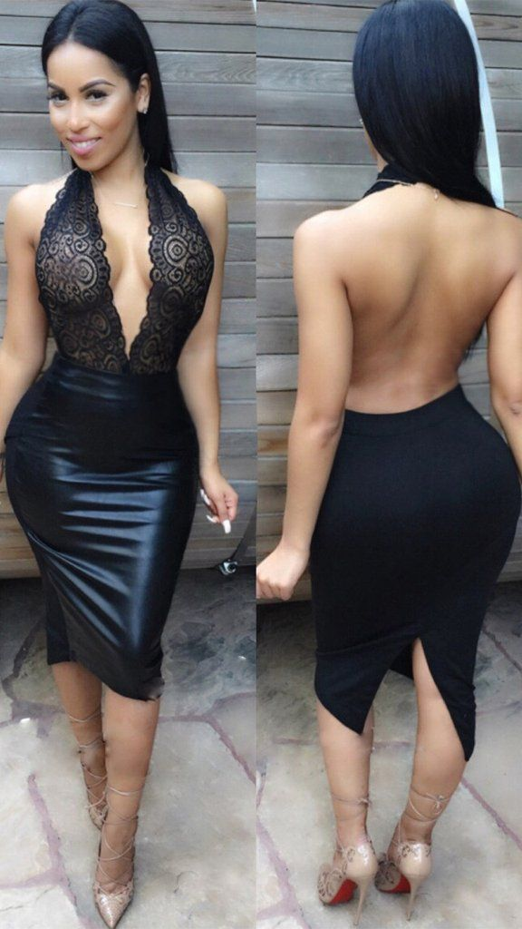 Deep V-neck Bodycon Embroidery Backless Short Dress - Meet Yours Fashion - 2 68685dca1569