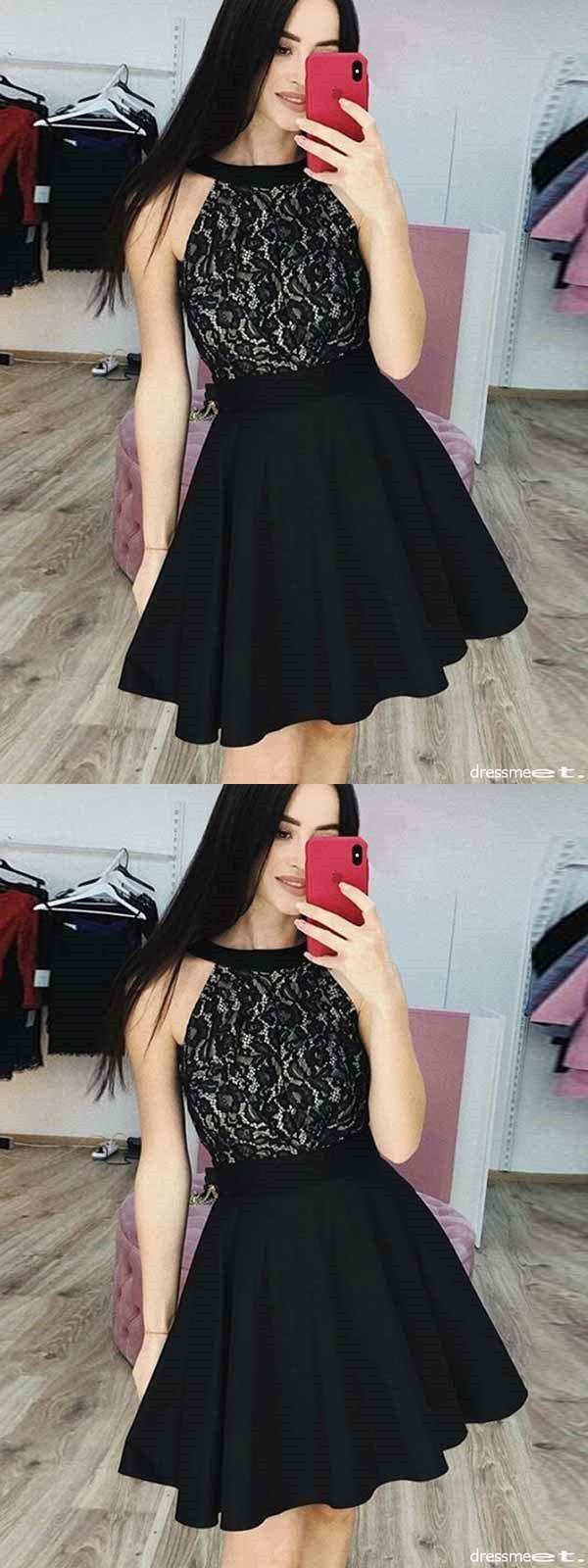 Black lace homecoming dress party cheap chiffon homecoming dress