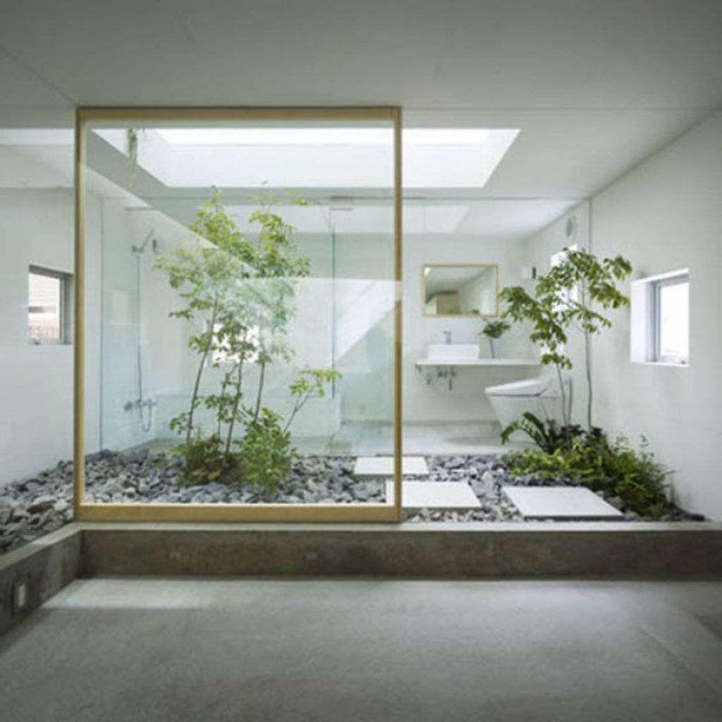 Interior Courtyard Garden Home: Interior:Perfect Indoor Garden Decor With White Wall And