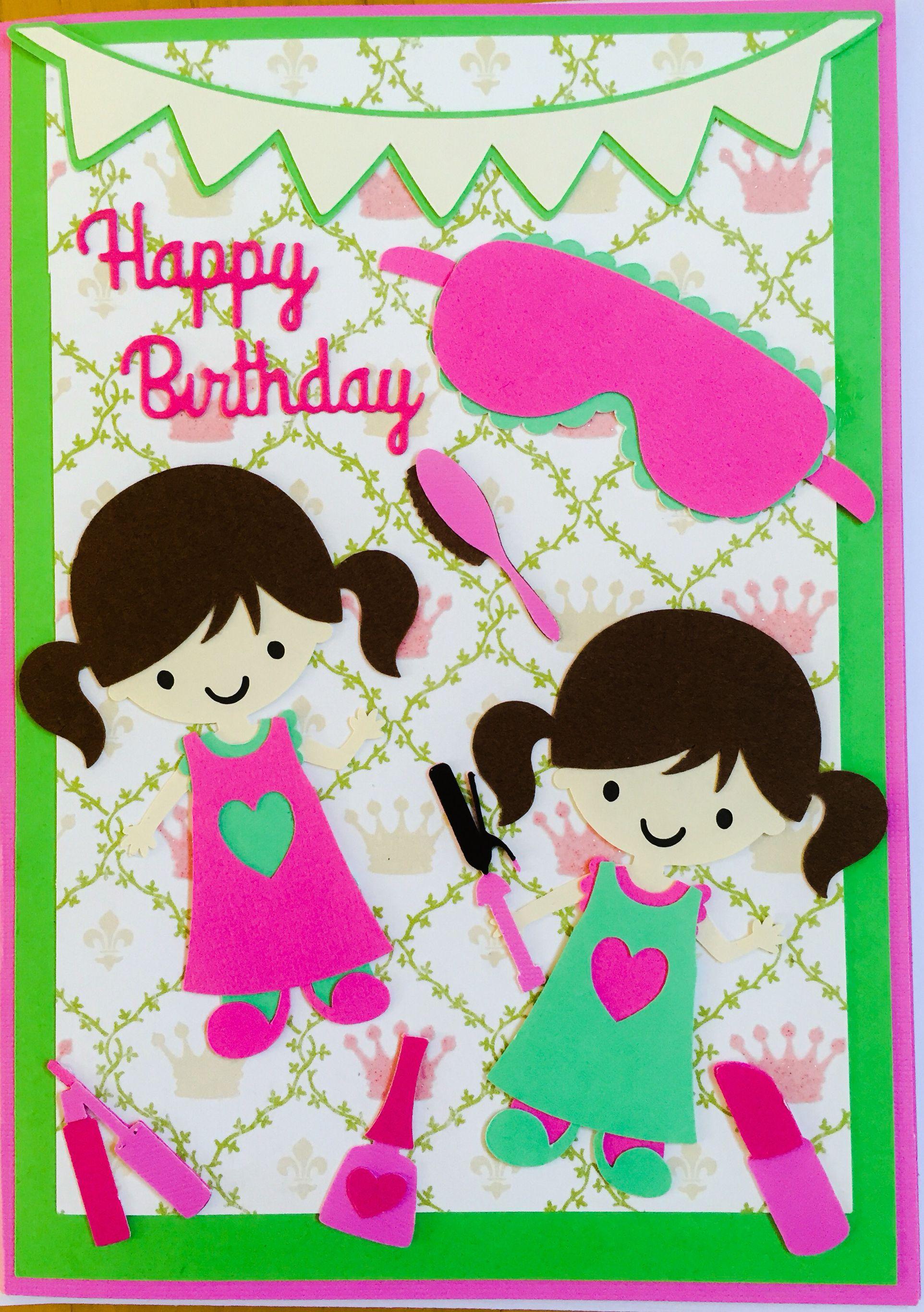Homemade kidsgirl birthday card using cricut everyday paper dolls