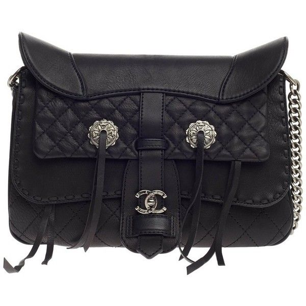 965abf04c1ac Pre-Owned Chanel Paris-Dallas Fringe Flap Saddle Bag Embellished...  ($4,465) ❤ liked on Polyvore featuring bags, handbags, black, strap purse,  ...