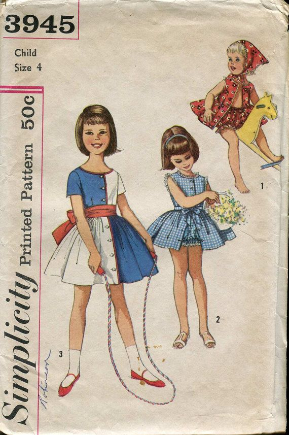 Simplicity 3945 Vintage 60s Toddler girls dress, scarf and panties ...