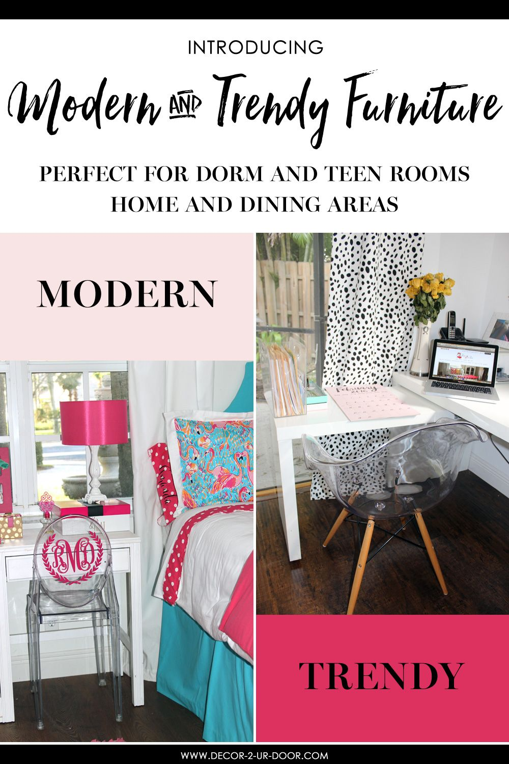 Beau Modern Dorm Room Furniture. Add Additional Seating To Your Tiny Dorm Room  With These Monogram Acrylic Chairs.