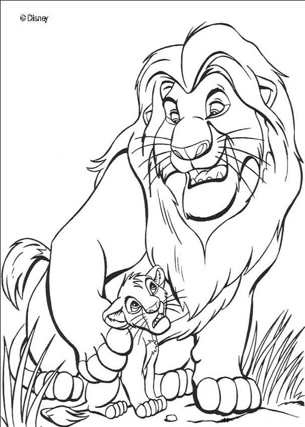 The lion king mufasa and simba coloring page