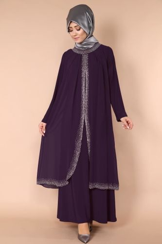 Tas Detay Cift Katli Elbise Smt1008 Murdum Abaya Tarzi Moda Stilleri Musluman Elbisesi