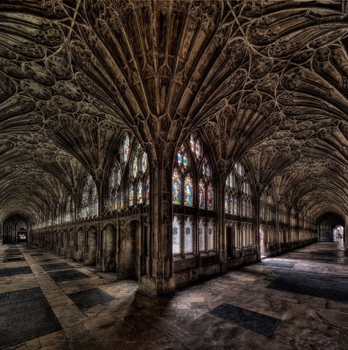 The Cloister Of Gloucester Cathedral, England, Where Parts