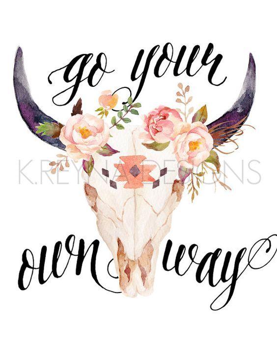 Printable Wall Art, Wall Decor, Cow Skull, Feather, Boho ...