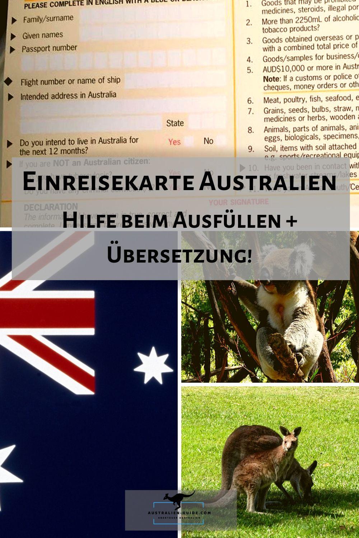 Einreisekarte Fur Australien Hilfe Beim Ausfullen In 2020