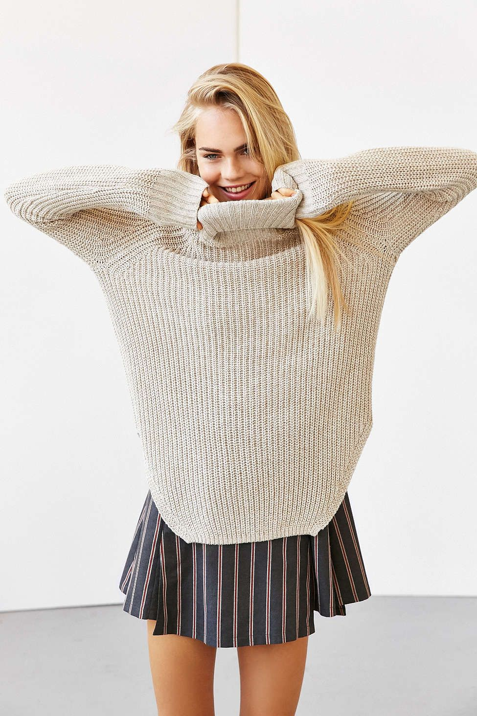 Silence + Noise Harley Shirttail Turtleneck Sweater , Urban Outfitters