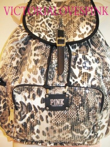 New! victoria secret pink leopard cheetah black bling sequin ...