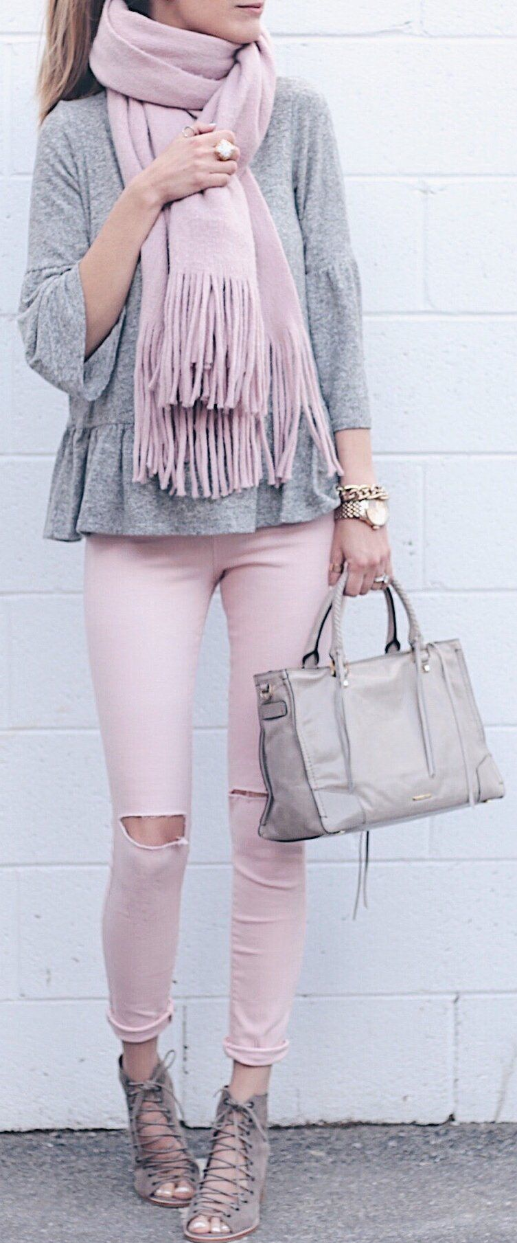 spring fashion  pink fringe scarf  grey top  pink