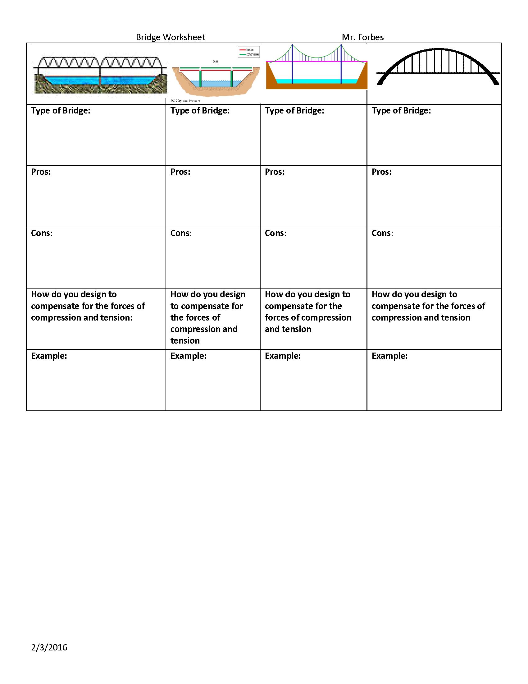 Worksheet to use the Bridge Project Grades 6 to 8   Stem teacher [ 2200 x 1700 Pixel ]