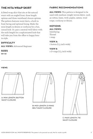 Nita Wrap Skirt Sewing Pattern by Sew DIY | Sewing diy, Sewing ...